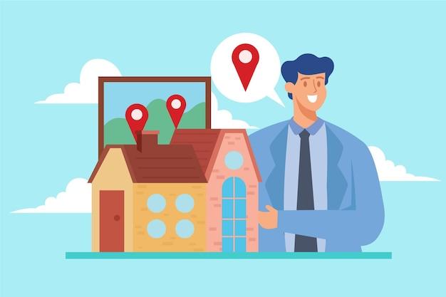 Concetto dell'illustrazione di assistenza dell'agente immobiliare