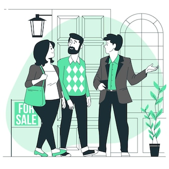 Illustrazione di concetto di agente immobiliare