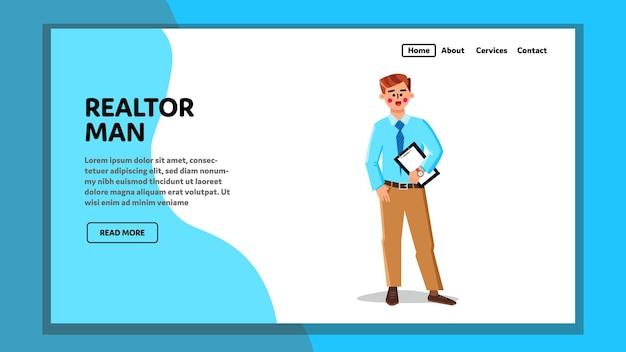 부동산 중개인 남자 부동산 기관 직원 벡터입니다. 임대 계약 또는 판매 계약, 사무실 또는 주택 판매원을 들고 부동산 중개인 사업가. 캐릭터 브로커 에이전트 웹 플랫 만화 일러스트 레이션