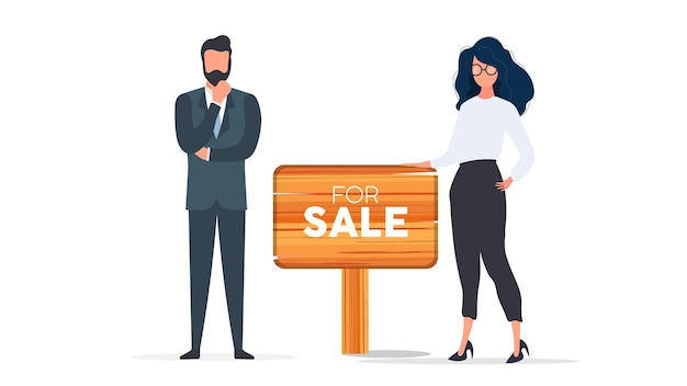 Realtors with a for sale sign. the girl and the man are realtors. good for design on the topic of selling houses, apartments and real estate. isolated. vector.
