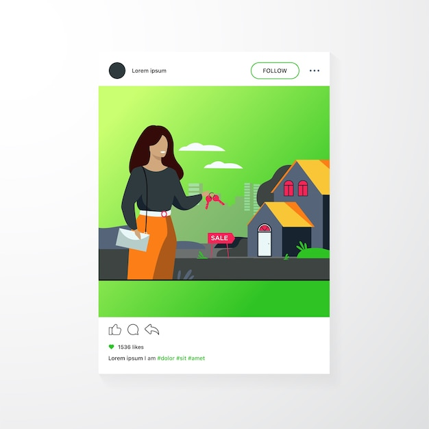 Realty agent holding keys and standing near building isolated flat vector illustration. cartoon woman and house for sale