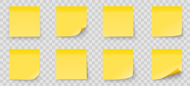Realystic set stick note isolated on transparent background. yellow color. post it notes collection with shadow