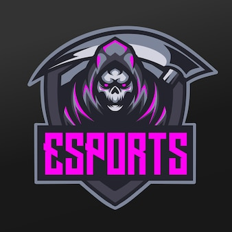 Reaper blade mascot sport illustration design for logo esport gaming team squad