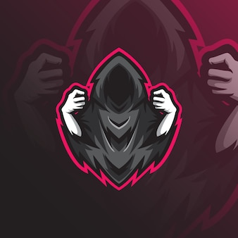 Reaper mascot logo design  with modern illustration concept style for badge, emblem and t shirt printing.