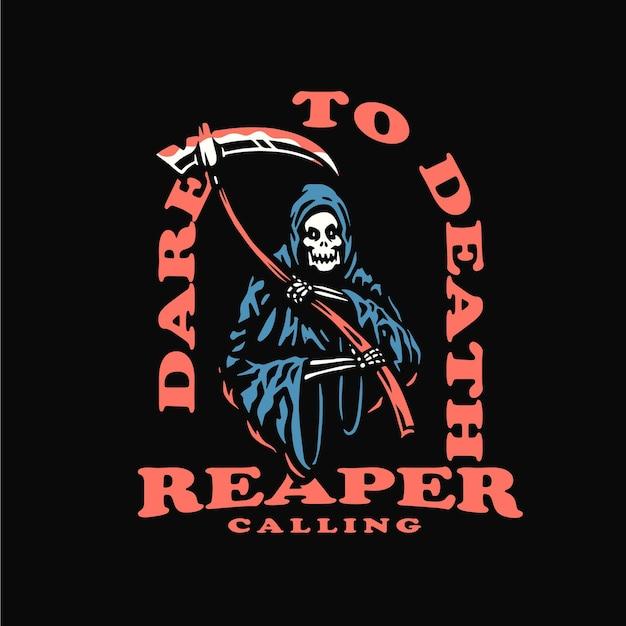 Reaper and scythe tshirt illustration template