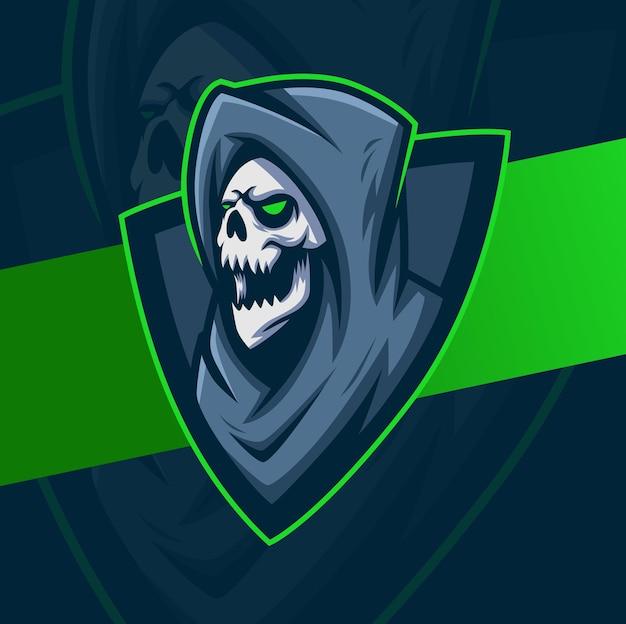 후드 마스코트 캐릭터 esport 로고 디자인이 있는 사신 해골 머리 게임 및 스포츠 로고를 위한 최고의 디자인