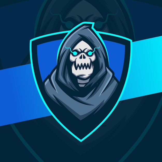 Reaper skull head with hood mascot character esport logo design best design for gaming and sport logo