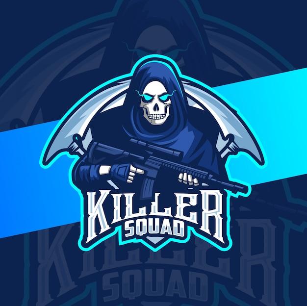 Reaper skull with gun mascot esport logo gaming