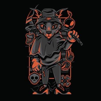 死神スタイルの猫の品種のイラスト