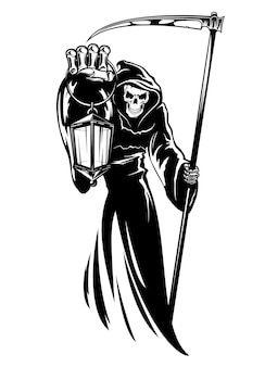 Reaper with scythe and lantern.