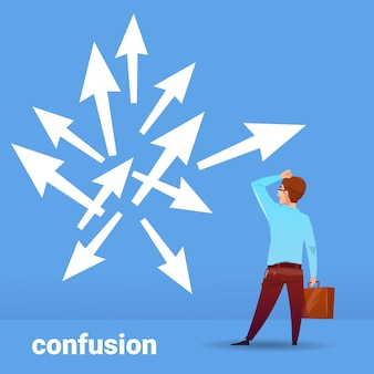 Rear view businessman thinking confusion business choosing direction financial concept on blue background flat