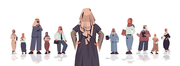 Rear view businesswoman standing in front of arabic businesspeople team leader leadership concept  isolated  illustration