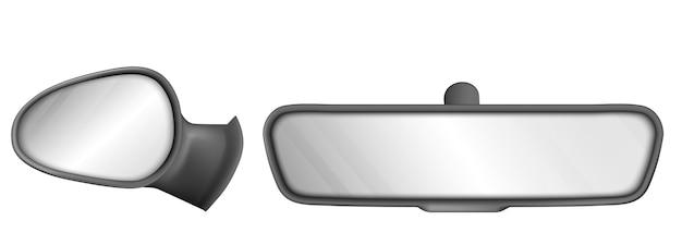 白い背景で隔離の黒いフレームのバックミラー