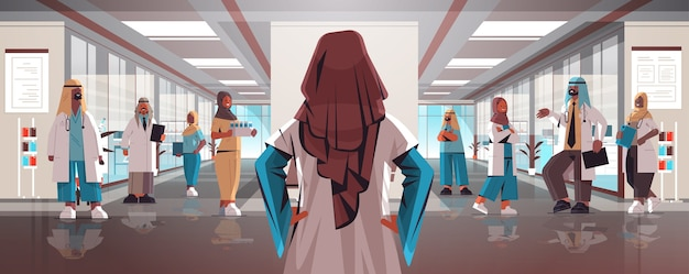 Rear view female doctor discussing with arabic doctors team in uniform medicine healthcare concept hospital interior horizontal vector illustration
