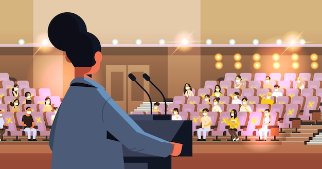 Rear view female doctor giving speech at medical conference with people in masks medicine healthcare coronavirus quarantine concept lecture hall interior horizontal vector illustration