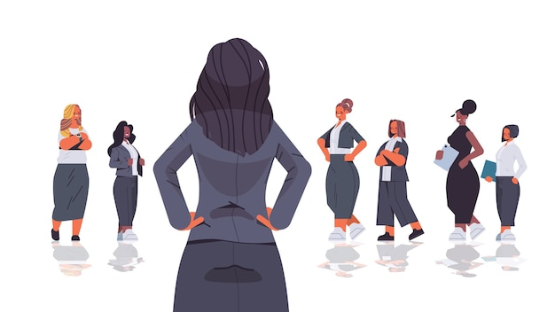 Rear view female leader standing in front of mix race businesspeople women's team leadership business competition concept horizontal isolated  illustration
