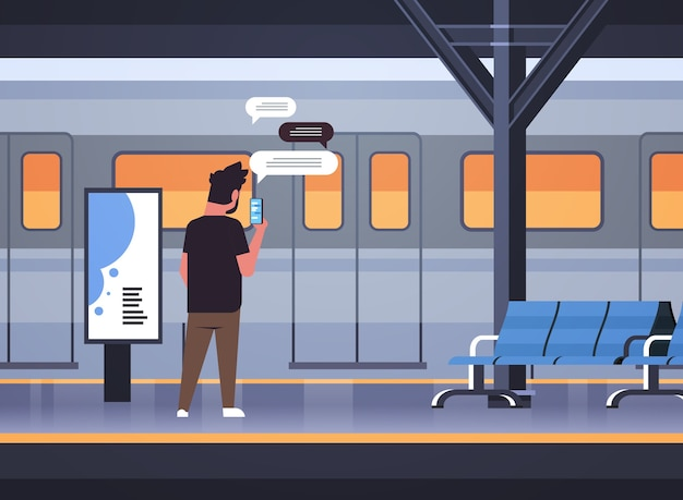 Rear view man standing on platform using chatting mobile app on smartphone social network chat bubble communication concept train subway or railway station full length horizontal vector illustration