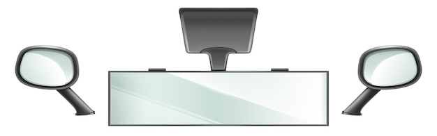 차량 내부 용 블랙 프레임의 백미러. 고립 된 센터 및 측면 백미러 자동차 거울의 벡터 현실적인 집합입니다. 안전 운전을위한 자동차 또는 트럭 장비