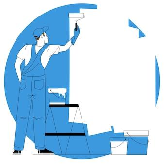 페인트 롤러와 양동이로 벽에 그림을 그리는 화가의 뒷모습. 평면 디자인 벡터 개념입니다.