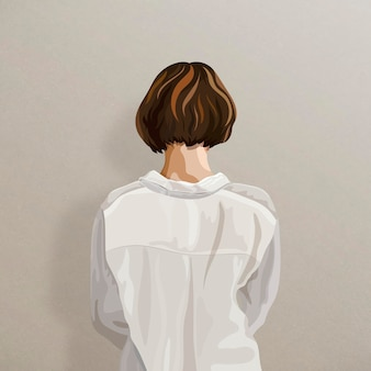 베이지 색 배경 스티커에 여자의 뒷모습