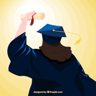 Vista posteriore di studente con diploma
