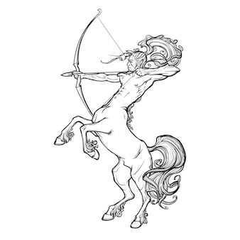 Rearing centaur holding bow and arrow.