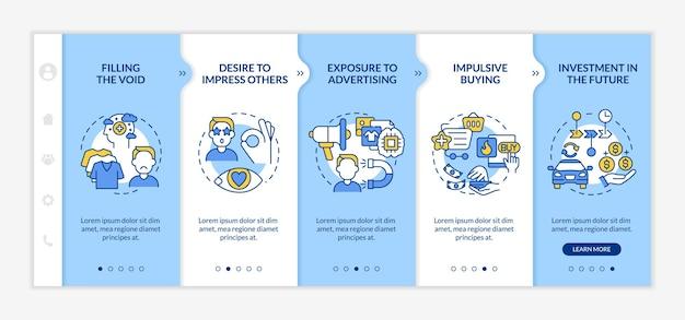 소비주의 블루 온보딩 벡터 템플릿에 대한 이유입니다. 아이콘이 있는 반응형 모바일 웹사이트입니다. 웹 페이지 연습 5단계 화면. 선형 삽화가 있는 무심코 구매 색상 개념