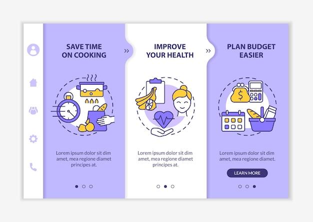 食事計画の理由紫色のオンボーディングベクトルテンプレート。アイコン付きのレスポンシブモバイルサイト。 webページのウォークスルー3ステップ画面。線形イラストで健康色の概念を改善する