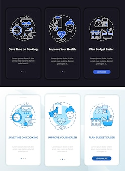 Reasons for meal plan day, night onboarding mobile app page screen. walkthrough 3 steps graphic instructions with concepts. ui, ux, gui vector template with linear night and day mode illustrations