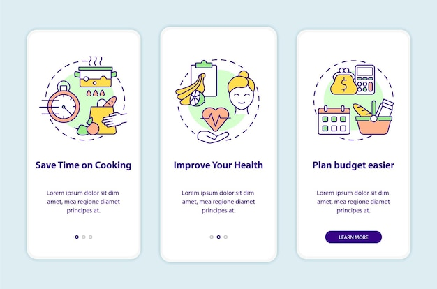 Reasons for meal planning onboarding mobile app page screen. cooking walkthrough 3 steps graphic instructions with concepts. ui, ux, gui vector template with linear color illustrations