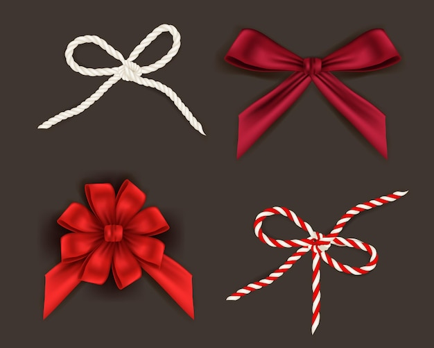 Reatictic red christmas ribbons