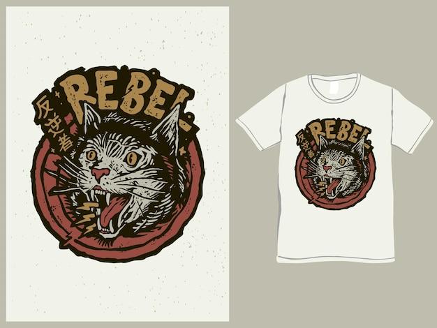 Мятежный кот в винтажном японском мультяшном стиле с футболкой