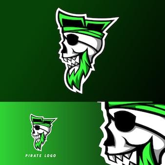 Rebel pirate gaming sport esport logo template skull headband