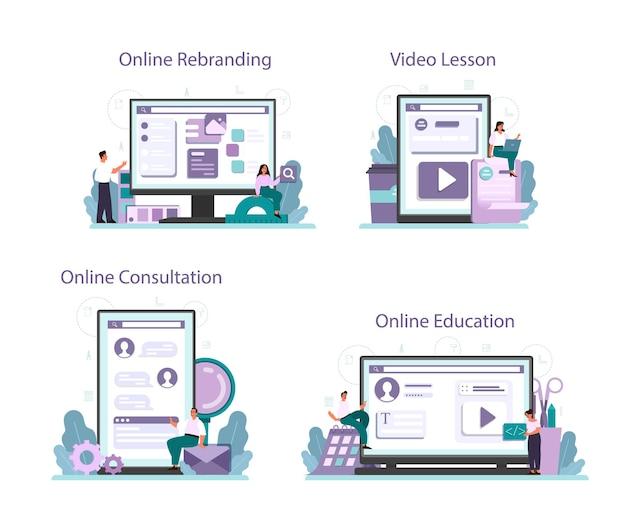 Rebranding online service or platform set.