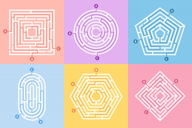 ラビリンスゲーム、迷路の難問、ラビリンス方法rebusと多くの入り口の謎のコンセプトセット