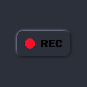 Rec button. currently recording. user interface elements for mobile app. dark theme. neumorphism style. vector eps10. isolated on background.