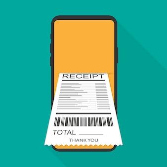 Receipt bill on smartphone vector illustration isolated, flat cartoon design paper invoice on mobile phone. vector illustration.