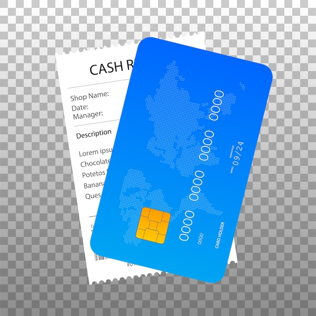 Receipt and credit card icon in a flat style isolated.