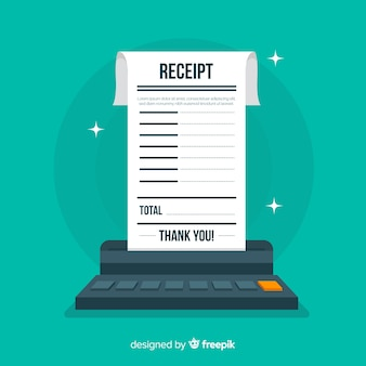 Receipt in flat style on green background