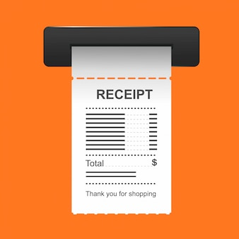 Receipt icon in a flat style isolated on a colored background.