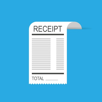 Receipt icon in a flat style isolated. invoice bill
