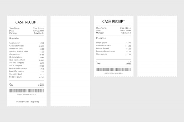 Receipt icon in a flat style isolated