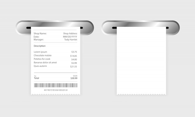 Receipt icon in a flat style isolated.
