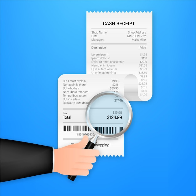 Receipt icon with magnifying glass. studying paying bill. payment of goods,service, utility, bank, restaurant. vector stock illustration