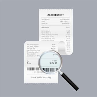 虫眼鏡で領収書アイコン。手形の支払いを勉強しています。商品、サービス、ユーティリティ、銀行、レストランの支払い。図。