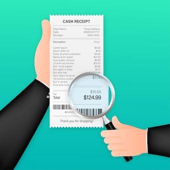 虫眼鏡の領収書アイコン。請求書の支払いを勉強しています。商品、サービス、ユーティリティ、銀行、レストランの支払い。ベクトルストックイラスト。