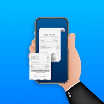 Receipt for smartphone screen. pay tax online receipt business card for mobile app . mobile bank app.   illustration.