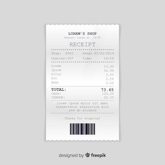 Коллекция шаблонов чеков с реалистичным дизайном