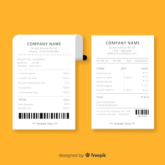 Receipt template with flat design