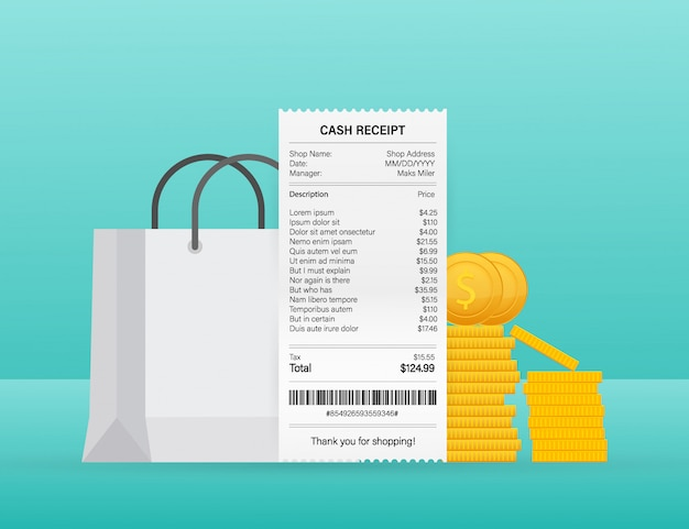 Receipt vector illustration of realistic payment paper bills for cash or credit card transaction.
